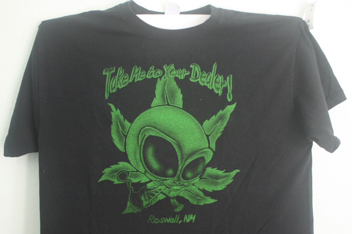 Roswell NM Alien with Marijuana Tee