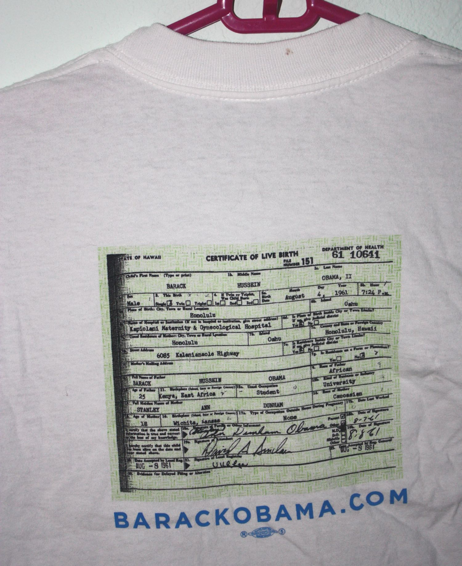 Obama Made in America Birth Certificate Tee 1