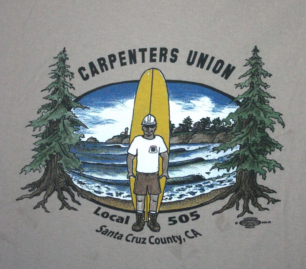 Santa Cruz Carpenters Local 505 with Surfboard 1